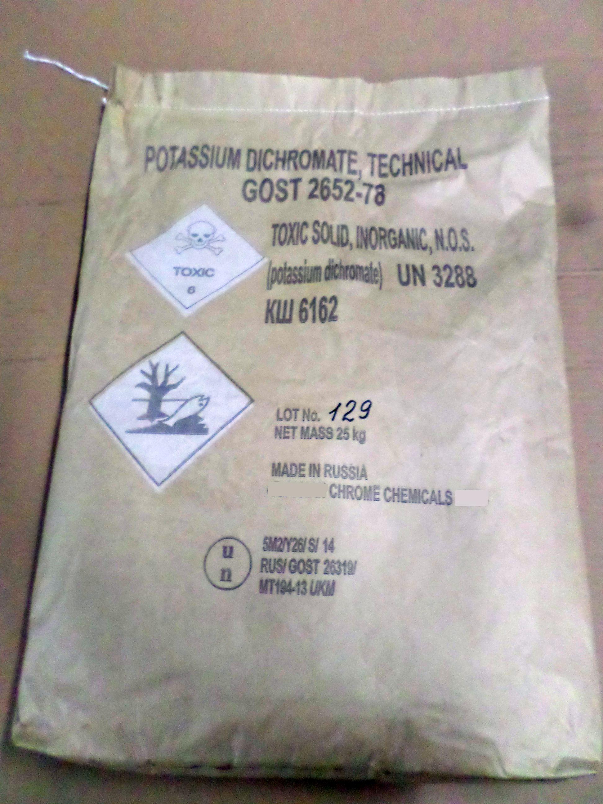 Potassium dichromate 25 kg UN paperbag